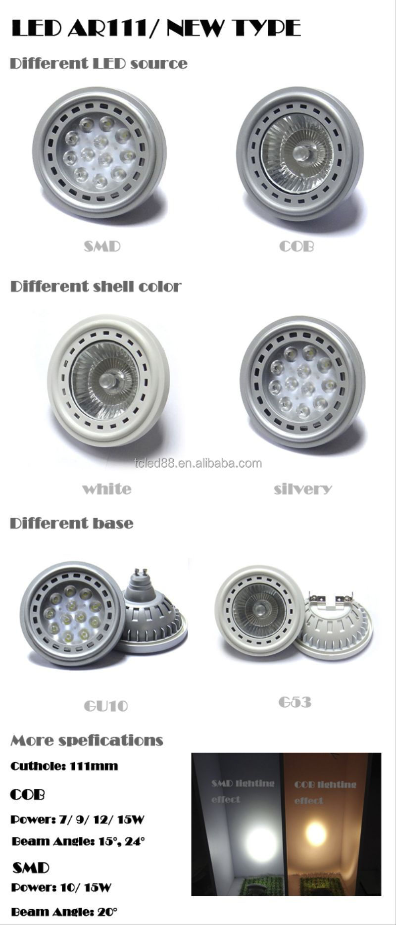 15w Ar111 Led Dimmable Es111 Led Lighting 10 Degree High Power Led ...