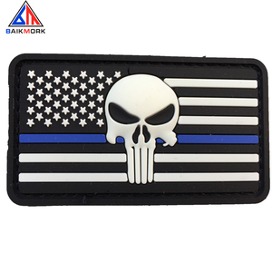 3D Soft US flag Punisher PVC Rubber Patch Blue Line Patch Military Tactical Clothing Badges