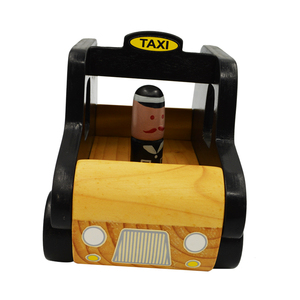 Wholesale High Quality Wooden Mini Taxi Car Toy For Toddlers