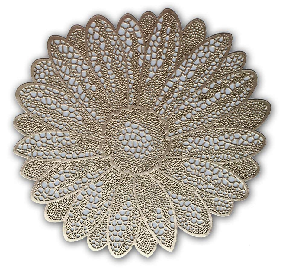 """Wintop 15"""" Round Vinyl Placemat, Set of 6, Flower Functional Mat for Dining Table Durable Non-Slip,Gold"""
