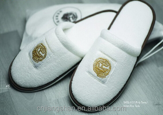 White Open Toe Plain Hotel Slippers With 5mm Eva Sole