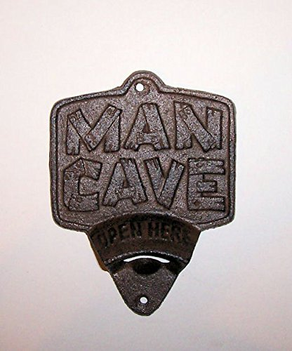 """ABC Products"" - Primitive Heavy Cast Iron - Vintage Style Wall Mount Bottle Opener - With A Sign The Words ""MAN'S CAVE"" - Primitive Design - (Rustic Bronze Color Finish - Opens Standard Bottle Caps)"