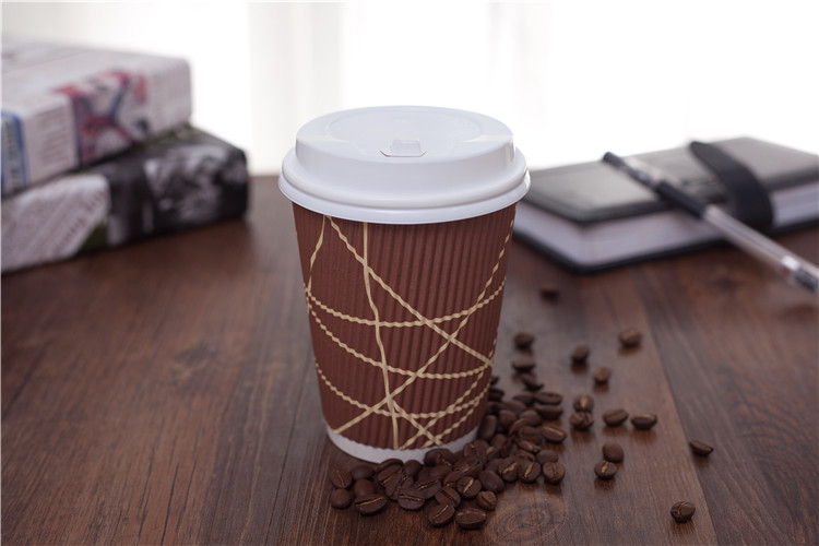 16 oz disposable ripple wall insulated corrugated paper coffee cup with lid