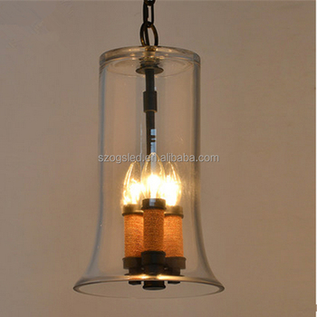 Contemporary Type Chic Handmade Gl Candle Lights Vintage Rope Pendant Lamp With Hanging Chain Restaurant