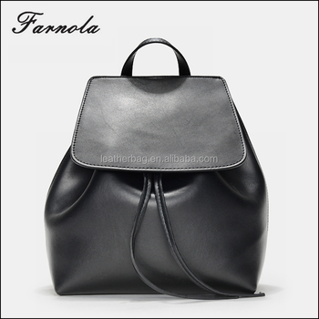 c8cf6bc06340 2018 best sell stylish black fashion drawstring genuine leather backpack  for women
