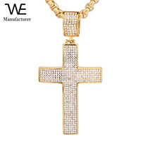 18K Gold Plated Cross Necklace Solid Jewelry Man