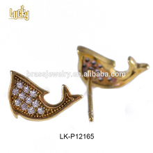 European fashion jewelry cute fish shaped 14k gold purity CZ micro pave fashion stud earring jewelry