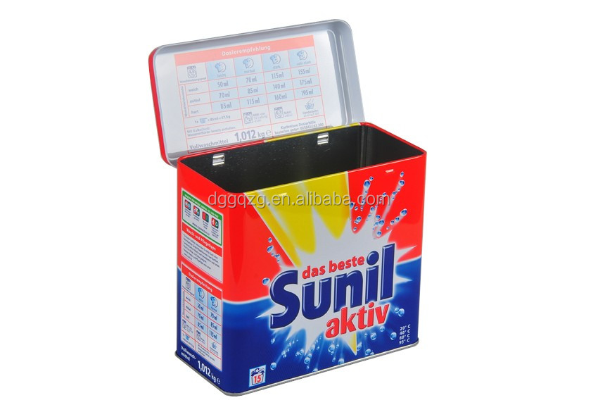 Sunil Washing Powder Metal Tin Container Box/Lid With Hinger Silver inside