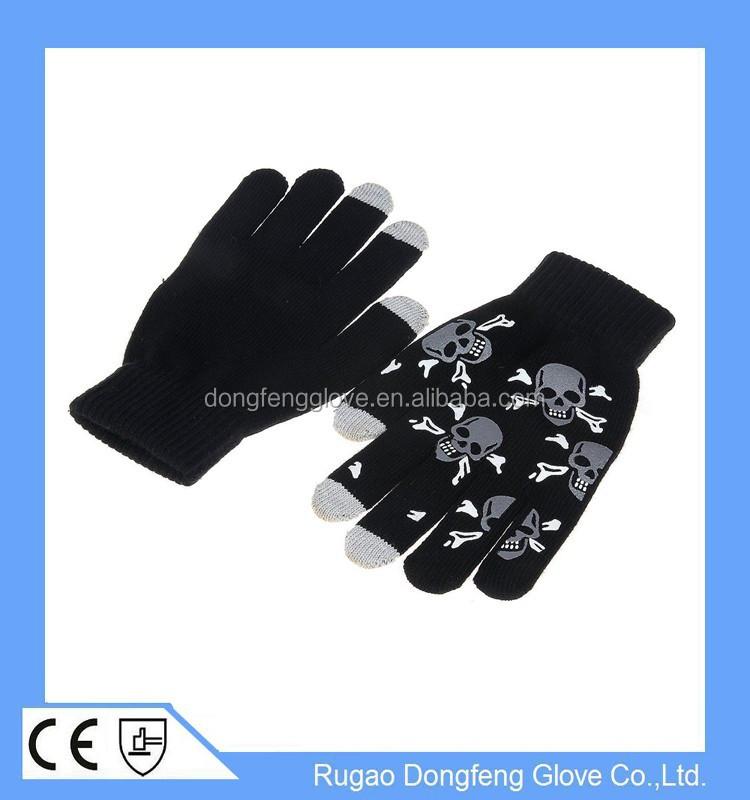 Black Dotted Grabber Touchscreen Stretch Gloves Winter Warm ...