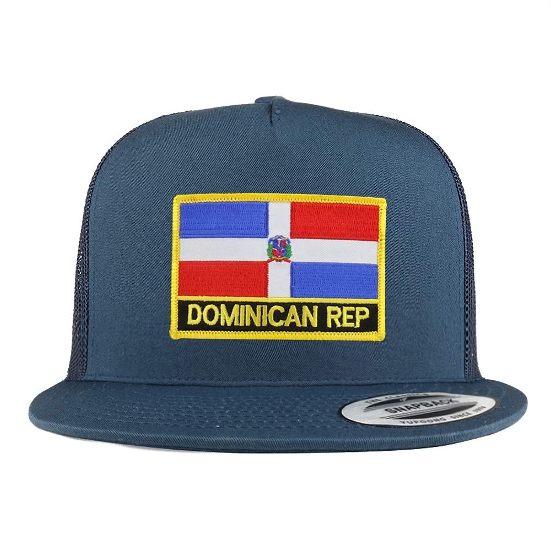 b034f6ede982e Get Quotations · Trendy Apparel Shop Dominican Republic Flag 5 Panel  Flatbill Trucker Mesh Cap