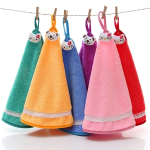 Korean High Density Micro Fiber Cleaning Cloth With Loop Potholders Microfiber Kitchen Hand Towels With Ties