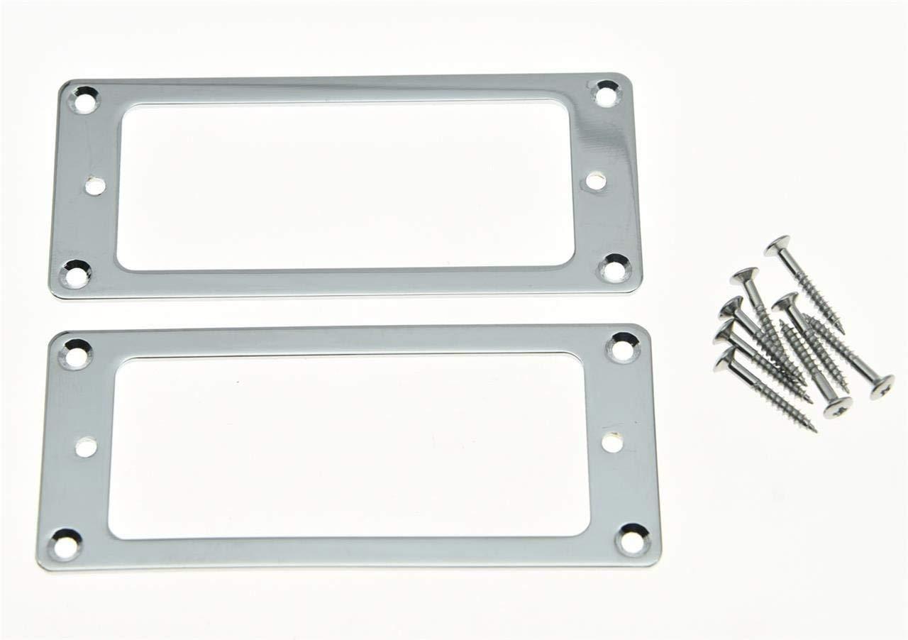 KAISH 2pcs Metal Chrome Mini Humbucker Pickup Mounting Rings Flat Base Mini Pickup Frame