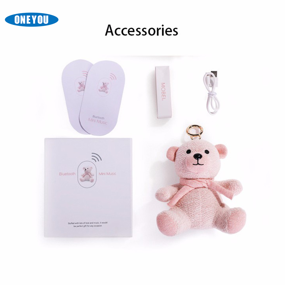 Portable Mini USB Micro TF card cute mobei music bears cloth dolls blue tooth speaker Bag pendant accessories