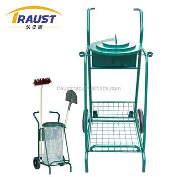 Multi Function Garden Rubbish Cart With Plastic Bag, /Trash Bag Holder For  Garden