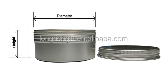 Hotsell Custom Aluminum Tin Containers / Metal Containers With Screw Lid
