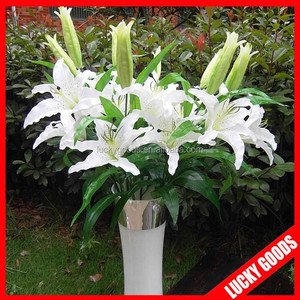 cream white wholesale artificial lily flower for decoration