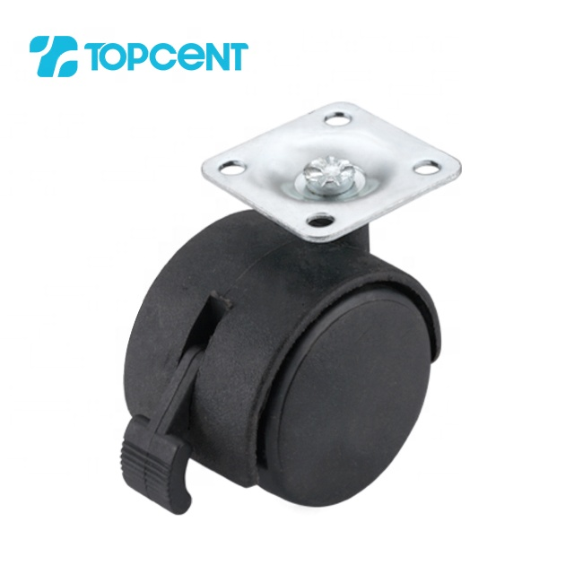 TOPCENT 1.5 inch nylon furniture office lockable office chair caster wheels with brake