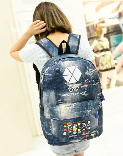 2015 New EXO Canvas Women Backpacks Fashion School Bags for Teenagers Girls Casual Korean Printing Backpacks Mochilas M716