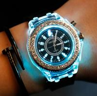 Mens Geneva diamond women crystal 7 colors led light watch unisex silicone jelly candy fashion quartz watches