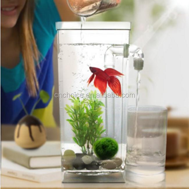 Aquarium fish tank self cleaning plastic desktop betta for Cleaning fish bowl