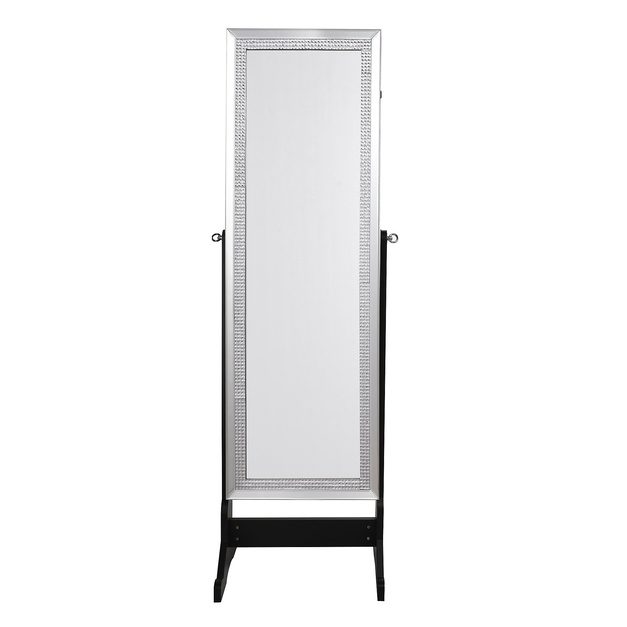 Inspired Home Sparkle Full Length Jewelry Cheval Armoire Mirror Makeup  Storage Organizer Crystal Border Lockable With