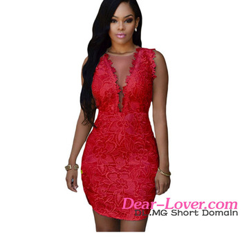 ec05298b35ef 2016 Brazilian Style Beautiful Sexy Red Lace Nude Mesh Accent Extreme Micro  Mini Dress For Women
