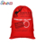 Stock red cotton canvas santa sack Christmas gift handbag drawstring bag