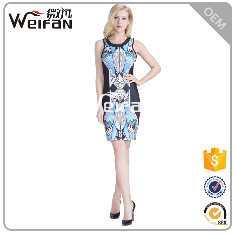 2016 Latest Fashion Dress Design Diving Under Blue Print Dress For Women
