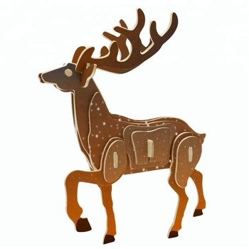 Wooden Gift Christmas Deer 3D Puzzle Children Educational Wooden Toys