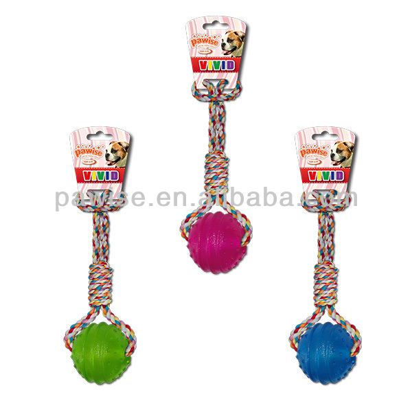 DOG TOY-TPR Ball w/rope handle