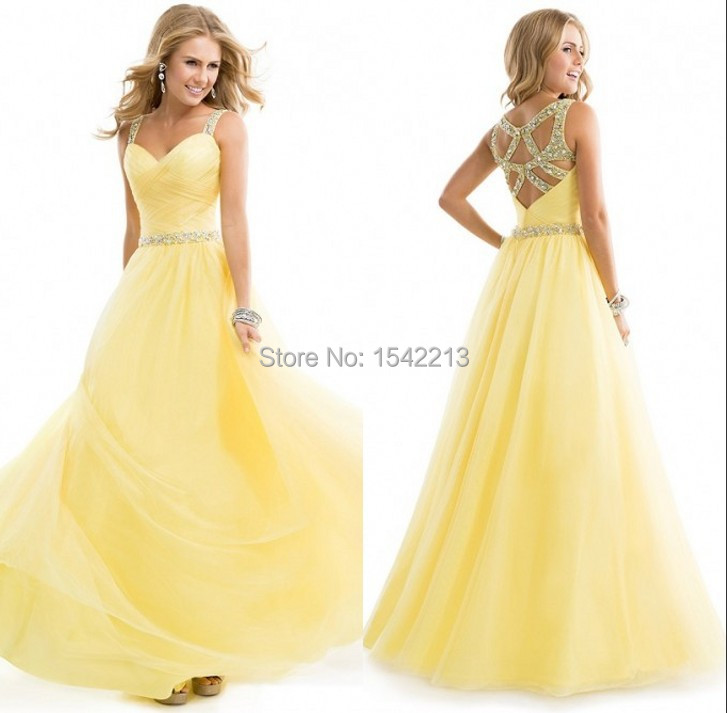 Romantic Beaded Yellow Spaghetti Strap Prom Dress Party Gowns vestidos de noche 2015 Custom Made