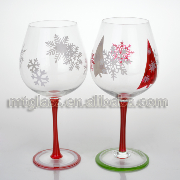 Large capacity hand painted snowflake decorative colored for Large red wine glass