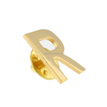 Gold Plated Alphabet Letter R Lapel Pin