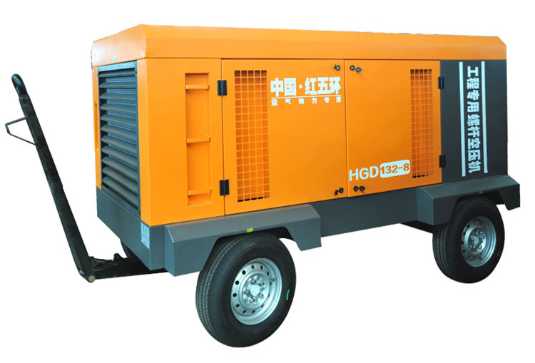 Hongwuhuan Portable 13bar 110kw Electric Screw Compressors Mobile Electrical Air Compressor