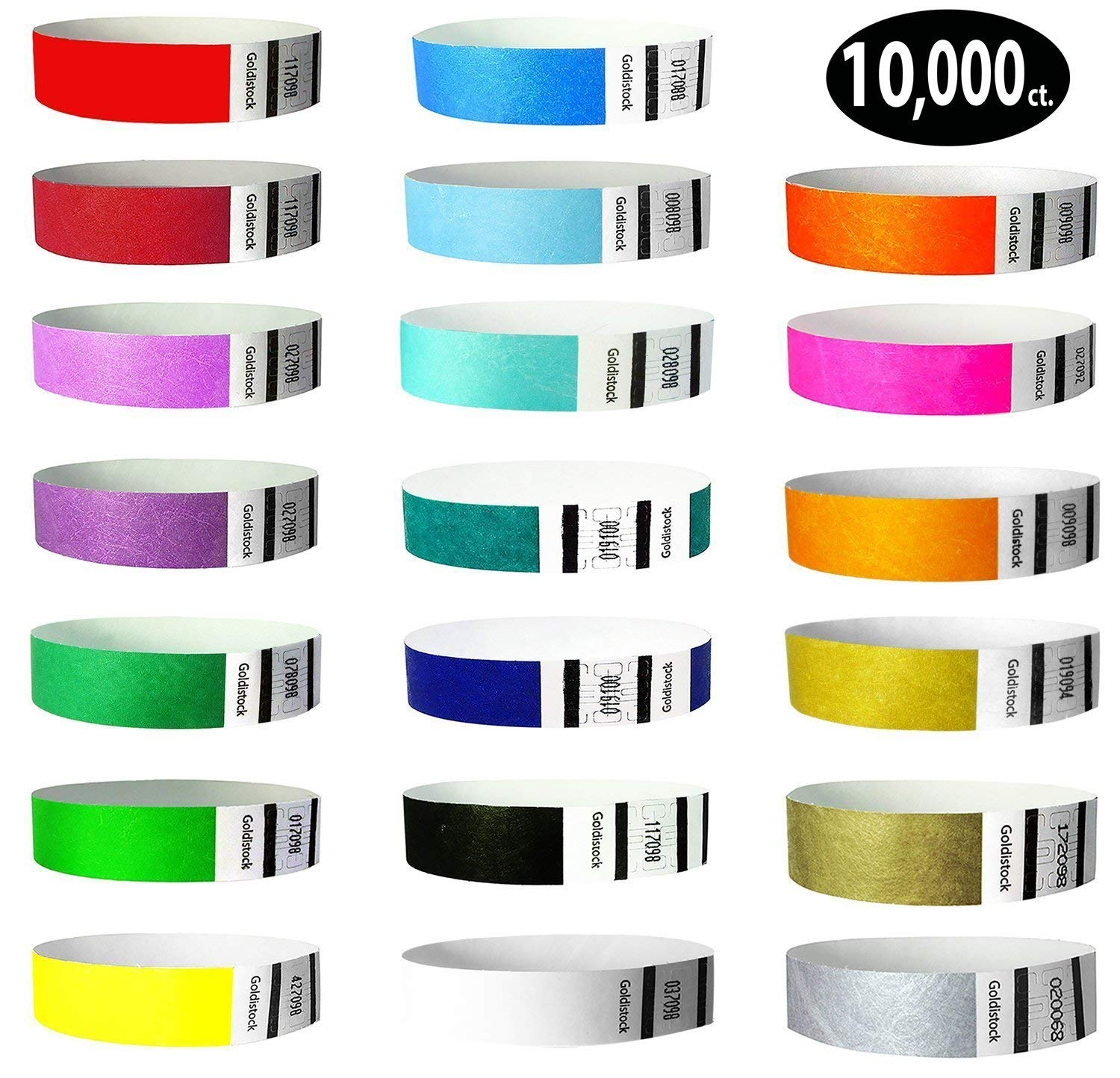 "Goldistock 3/4"" Tyvek Wristbands Top Twenty Variety Pack 20 Colors 10,000 Ct.- Green (2 Shades), Blue(3 Shades), Red(2), Orange(2), Purple(2), Gold(2), Yellow, Pink, Silver, Aqua, White, Black, Teal"