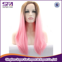 Light pink color japanese FUTURA fibre lace front wig