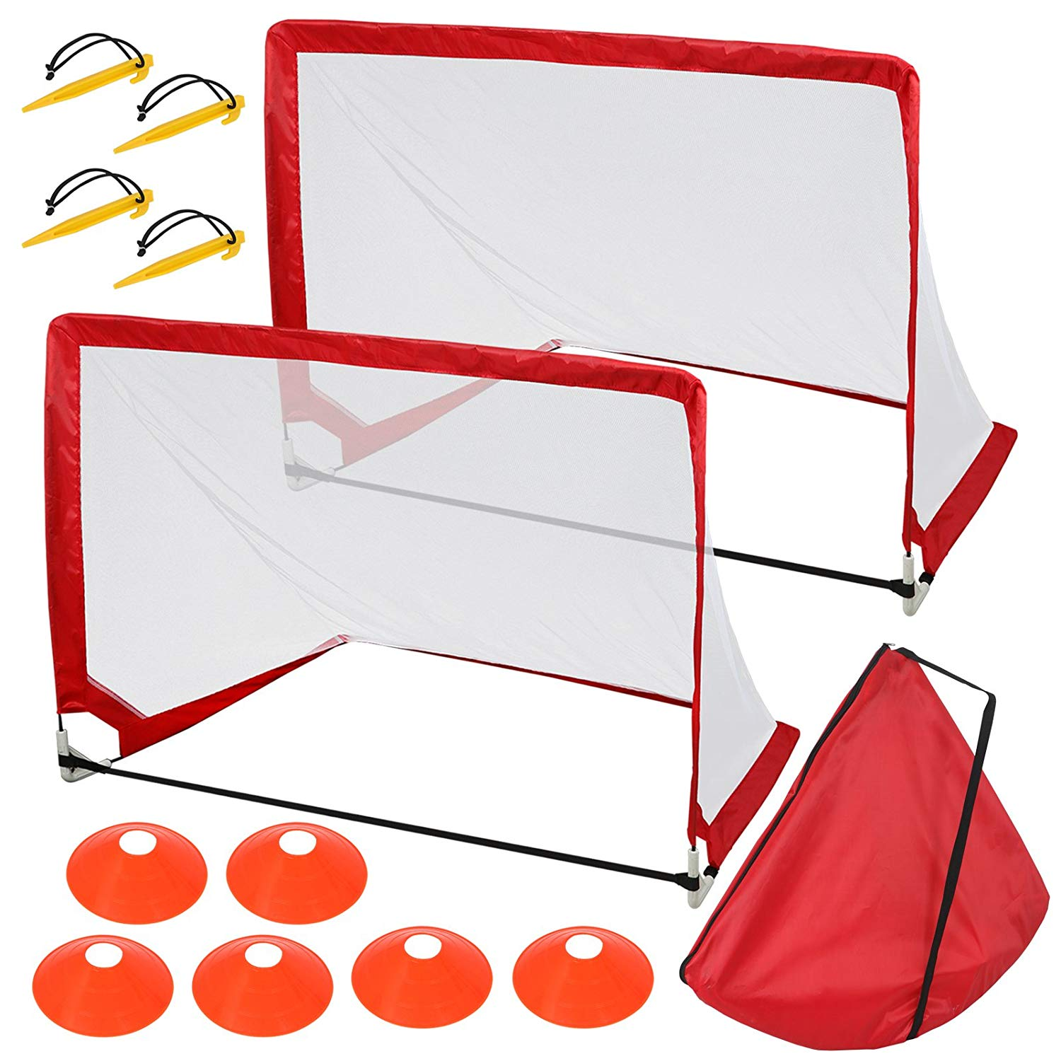 50485c119 F2C Set of 2-4' Square Portable Kids Toddlers Pro Pop-Up Soccer Football  Goal Target Nets Set W/6 Cones & Carry Bag, Futsal Outdoor Pop Up Pick Up  Game ...