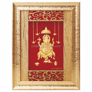 3D gold foil ganesha photo frame