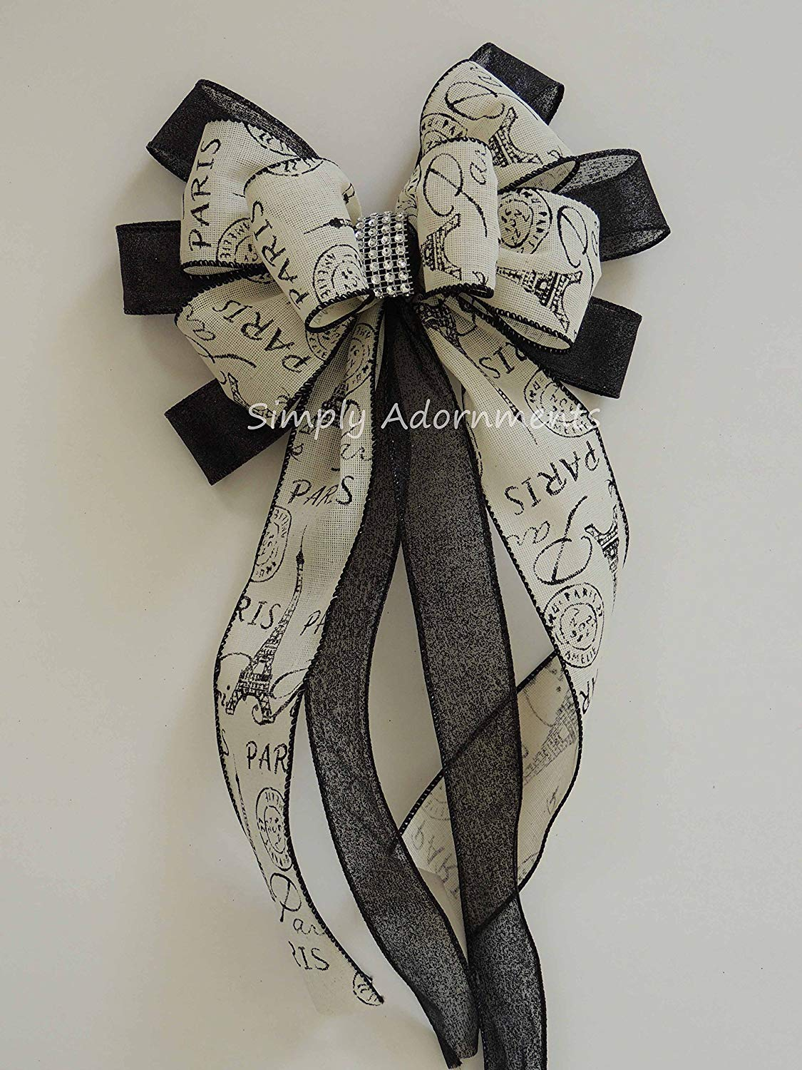 5881b3a4ed Paris Wedding Aisle Decoration Bows Paris Eiffel Tower Ribbon Bow Black  Ivory Paris Birthday Party Decor
