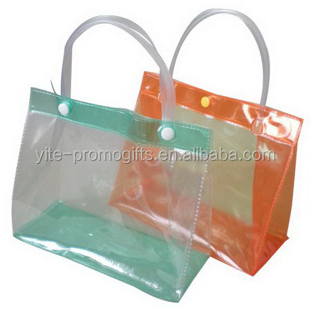 Heat sealing clear pvc cosmetic bag with two handles