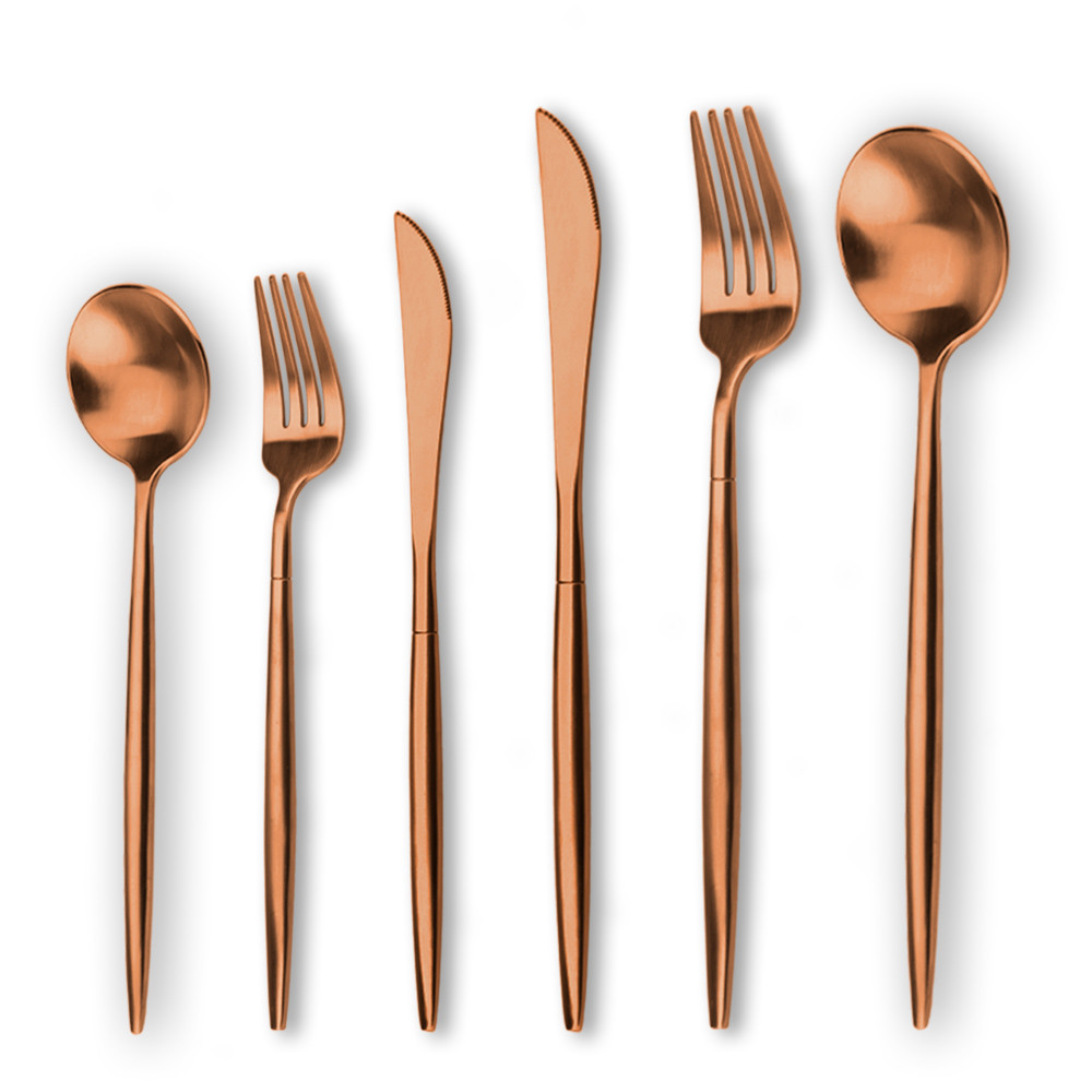 Hot selling wedding cutlery, matte finish <strong>stainless</strong> steel rose gold cutlery