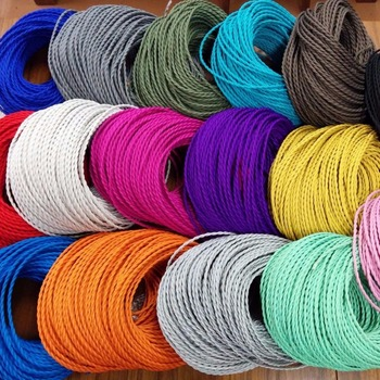 Decorative Lighting Electrical Fabric Cable Cotton Textile Braided Wire Twisted 2 3 Core