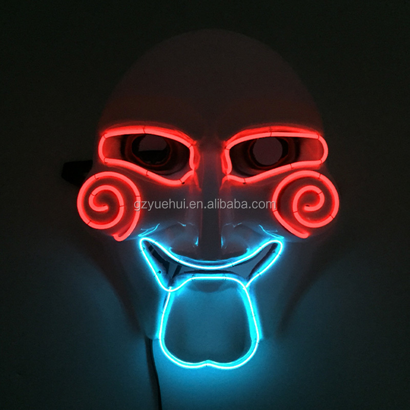 Funky Dress Accessory Led Strip Neon Light Cute Dimple Monster Mask Carnival Cold Light EL Clown Face as Dancing Evening Party