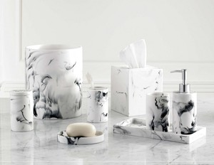 XY popular marble effect polyresin hotel bath accessory set