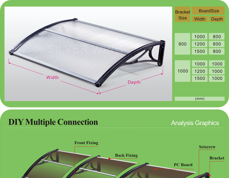 Wind resistant outdoor canopy roof with mid fixing for door polycarbonate awning canopy shelter  sc 1 st  Alibaba & Wind Resistant Outdoor Canopy Roof With Mid Fixing For Door ...