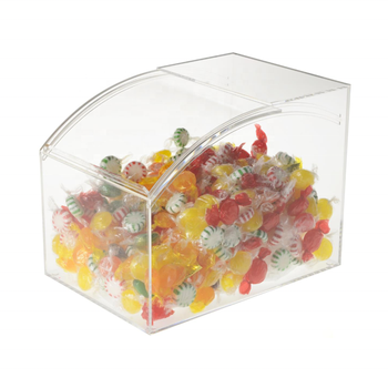 Wholesale plexiglass boxes candy with curved slide-in door