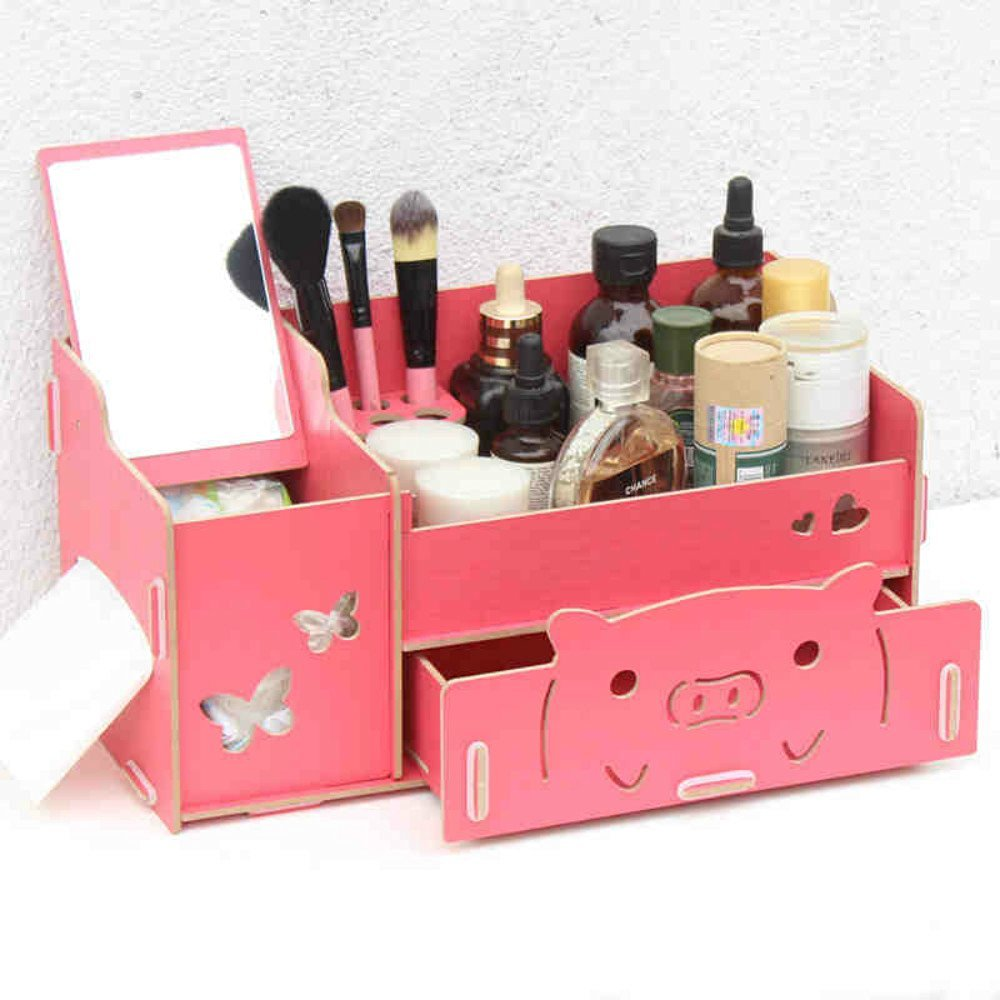 HOPE & WISH® Creative Cute Pig Design Wooden DIY Cosmetic Makeup Organizer Removable Jewelry Display Box Kitchen Bathroom Collection Organizer Bedroom Desk Storage Case - With Mirror (Watermelon Red)
