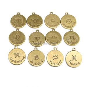 JS1331 High quality antique bronze horoscope charm,zodiac astrology pendant  for birthday gift