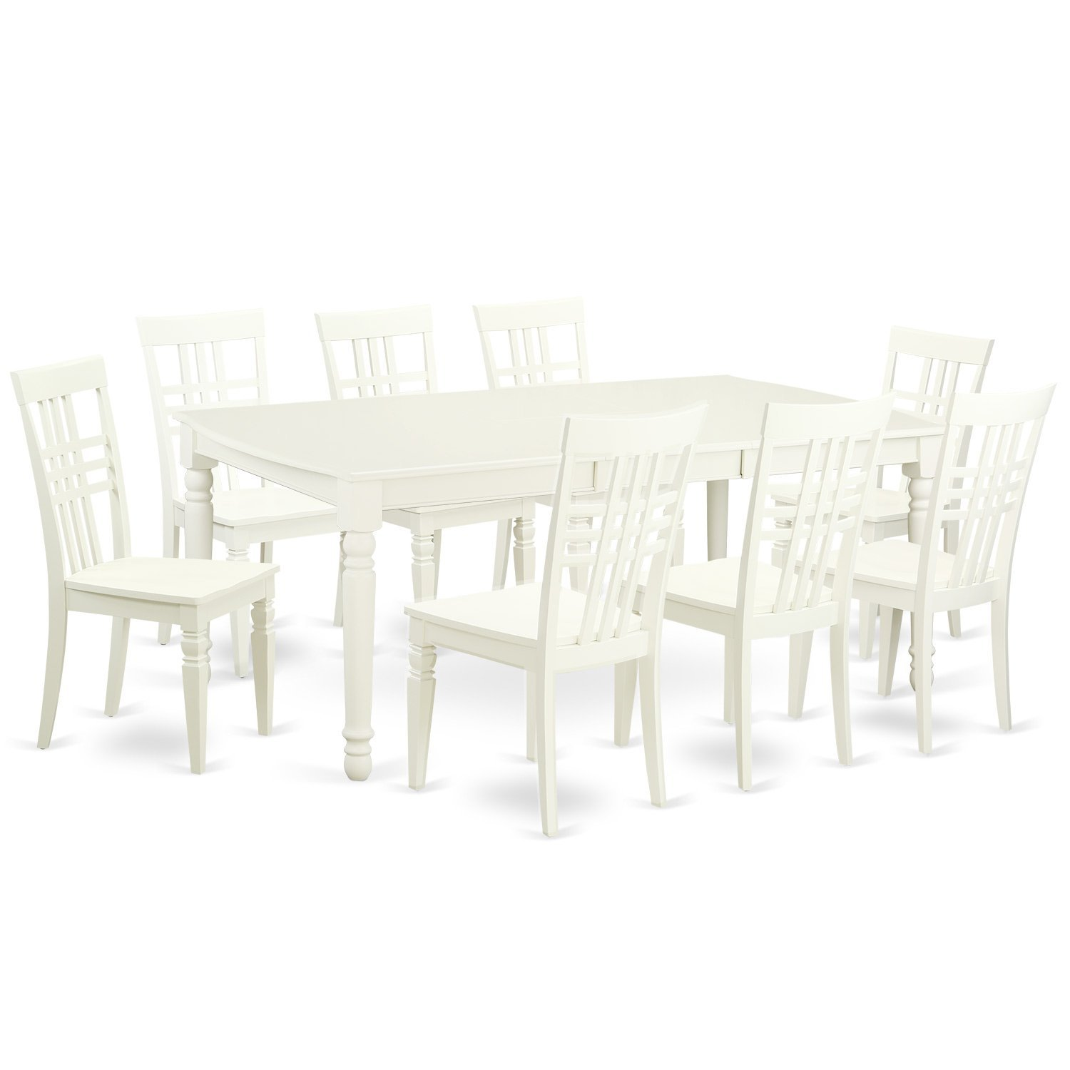 East West Furniture DOLG9-LWH-W 5 PC Kitchen Tables & Chair Set with One Dover Dining Table & 8 Kitchen Chairs in Linen White Finish