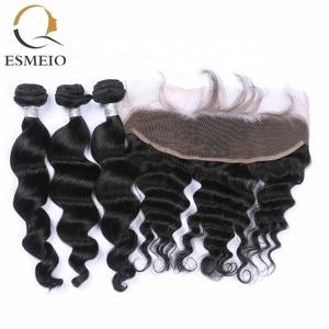 China Vendor Wholesale Brazilian Virgin Hair Extension Weave Cuticle Aligned Hair Bundles With Lace Frontal